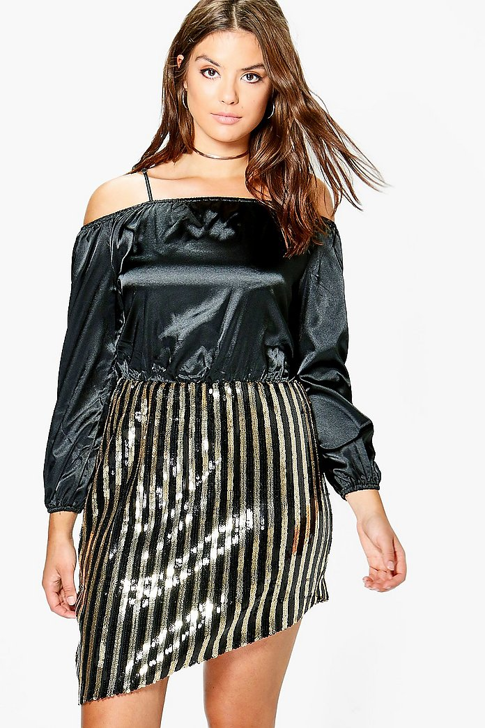Plus Vanessa Sequin Open Shoulder Satin Dress
