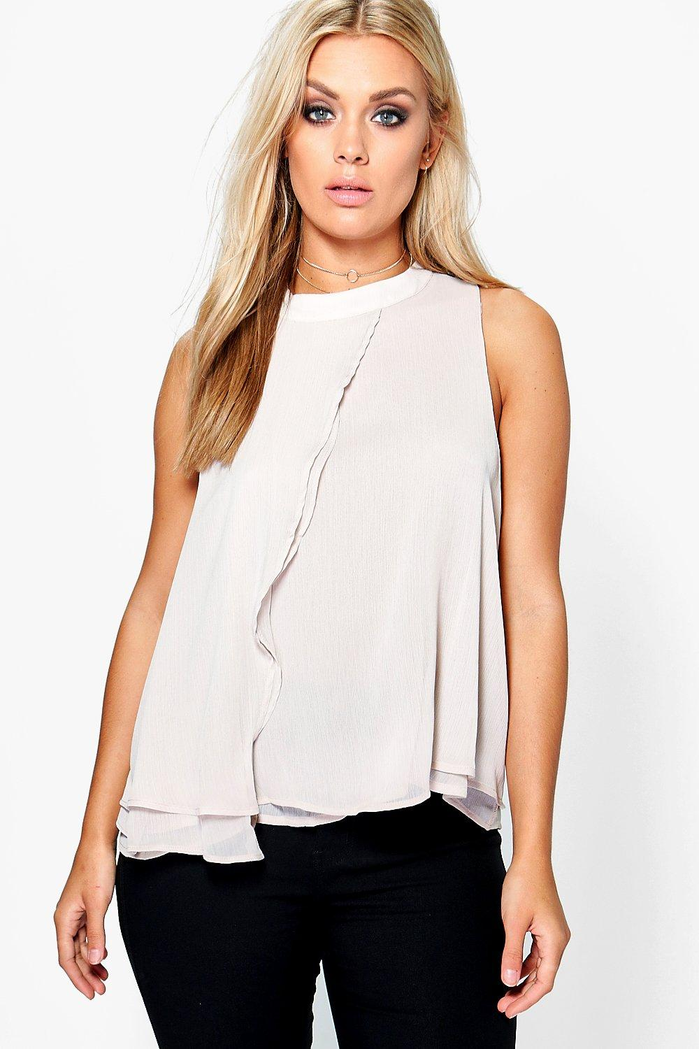 Plus Kim Chiffon Frill Detail Sleeveless Shirt