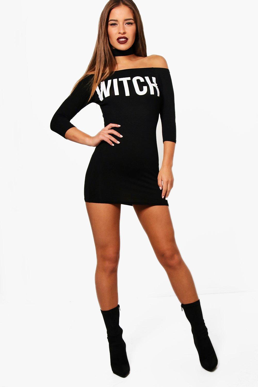 Купить Платья, Petite Jess Колье-ошейник 'Witch' Halloween Облегающее платье, boohoo