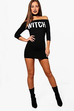 Petite Jess 'Witch' Choker Halloween Bodycon Dress