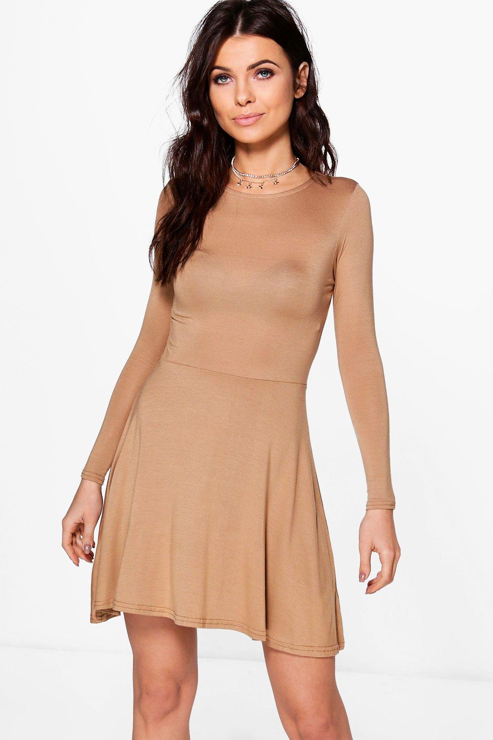 Petite Harriet Basic Long Sleeve Skater Dress