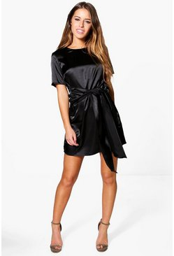 Petite Charlie Satin Tie Waist Shift Dress