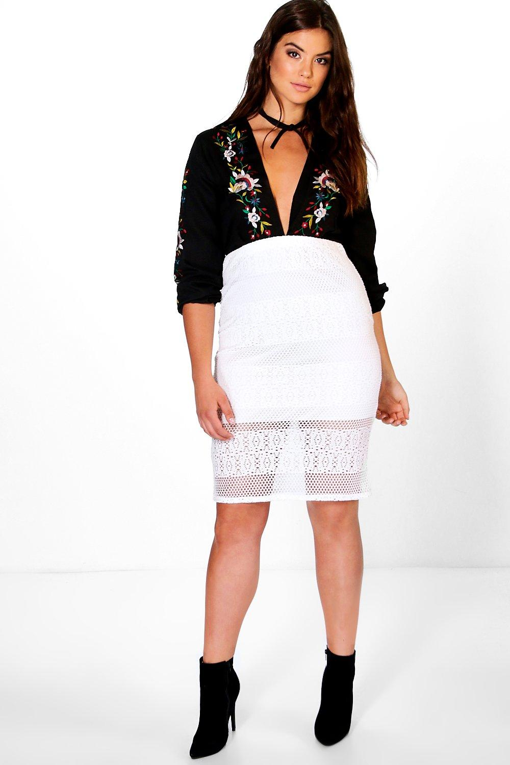 Plus Eden Lace Crochet Overlay Midi Skirt