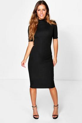 Petite Effie Premium Rib Turtle Neck Bodycon Dress