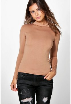 Petite Tanya Long Sleeve Basic Rib Turtle Neck Top