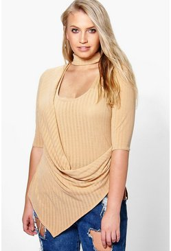 Plus Ava Cut Out Neck Drape Front Top