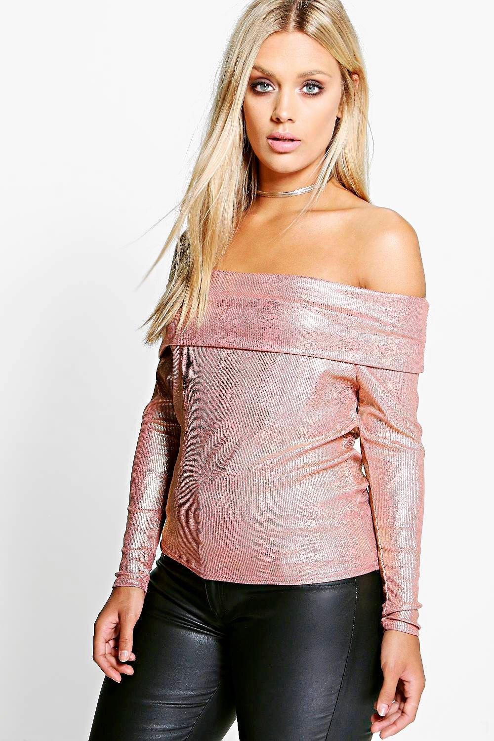 Plus Jessie Metallic Bardot Rib Top