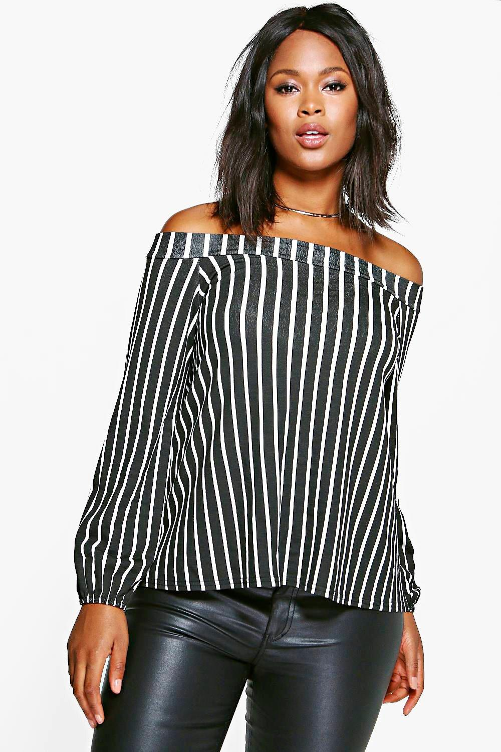 Plus Kay Bardot Stripe Top