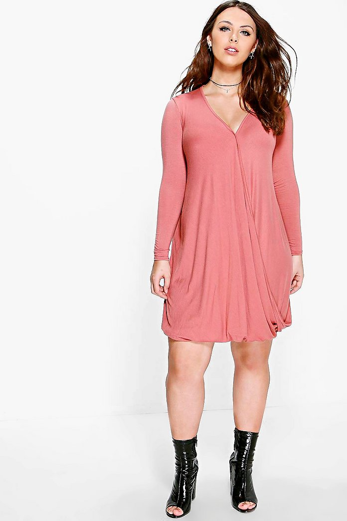 Plus Amelia Wrap Long Sleeve Dress