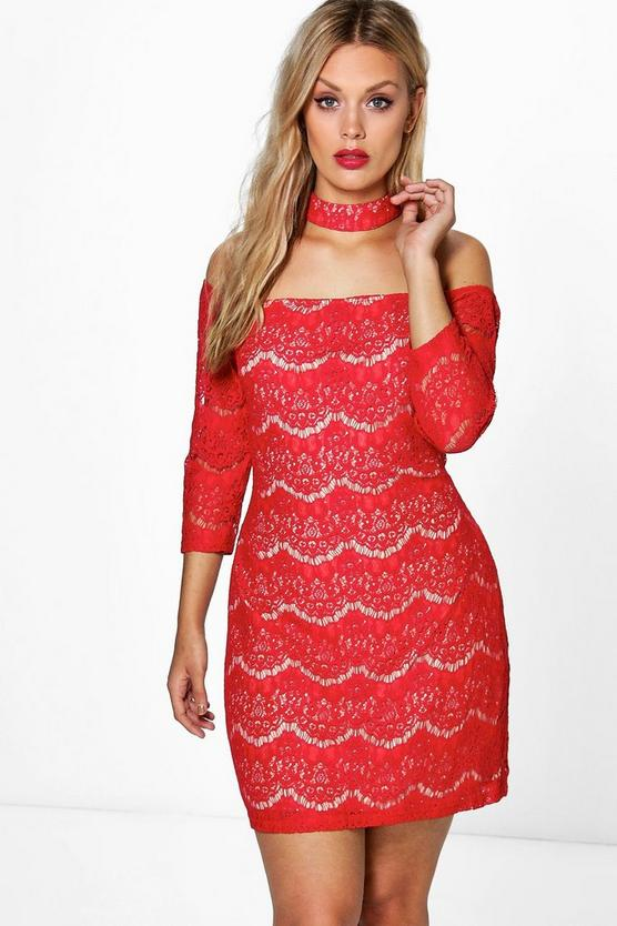 Plus Larissa Choker Lace Dress