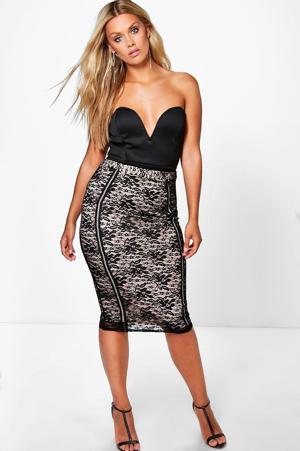 Plus Frey Lace Ladder Trim Midi Skirt