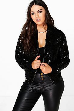 Plus Hana Sequin Bomber Jacket