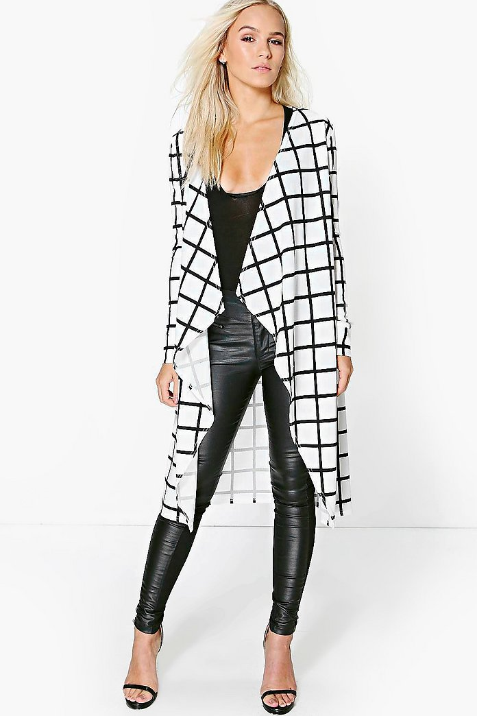 Petite Tilly Grid Check Oversized Duster Jacket
