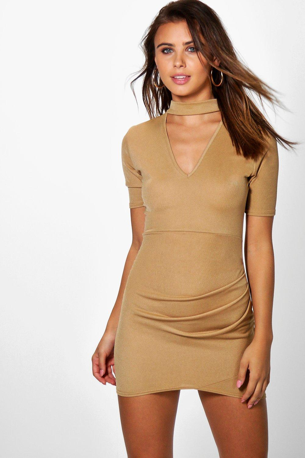 Petite Roisin Choker Ruched Side Dress