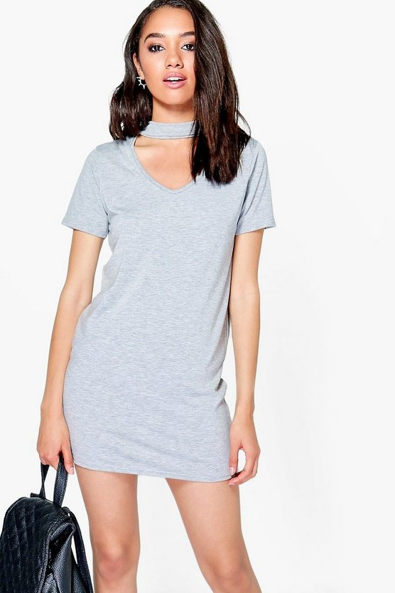 Petite Rhianne Choker Detail T-Shirt Dress