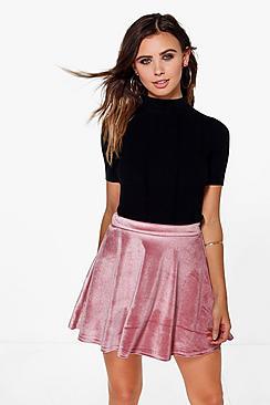 Petite Becca Velvet Skater Skirt