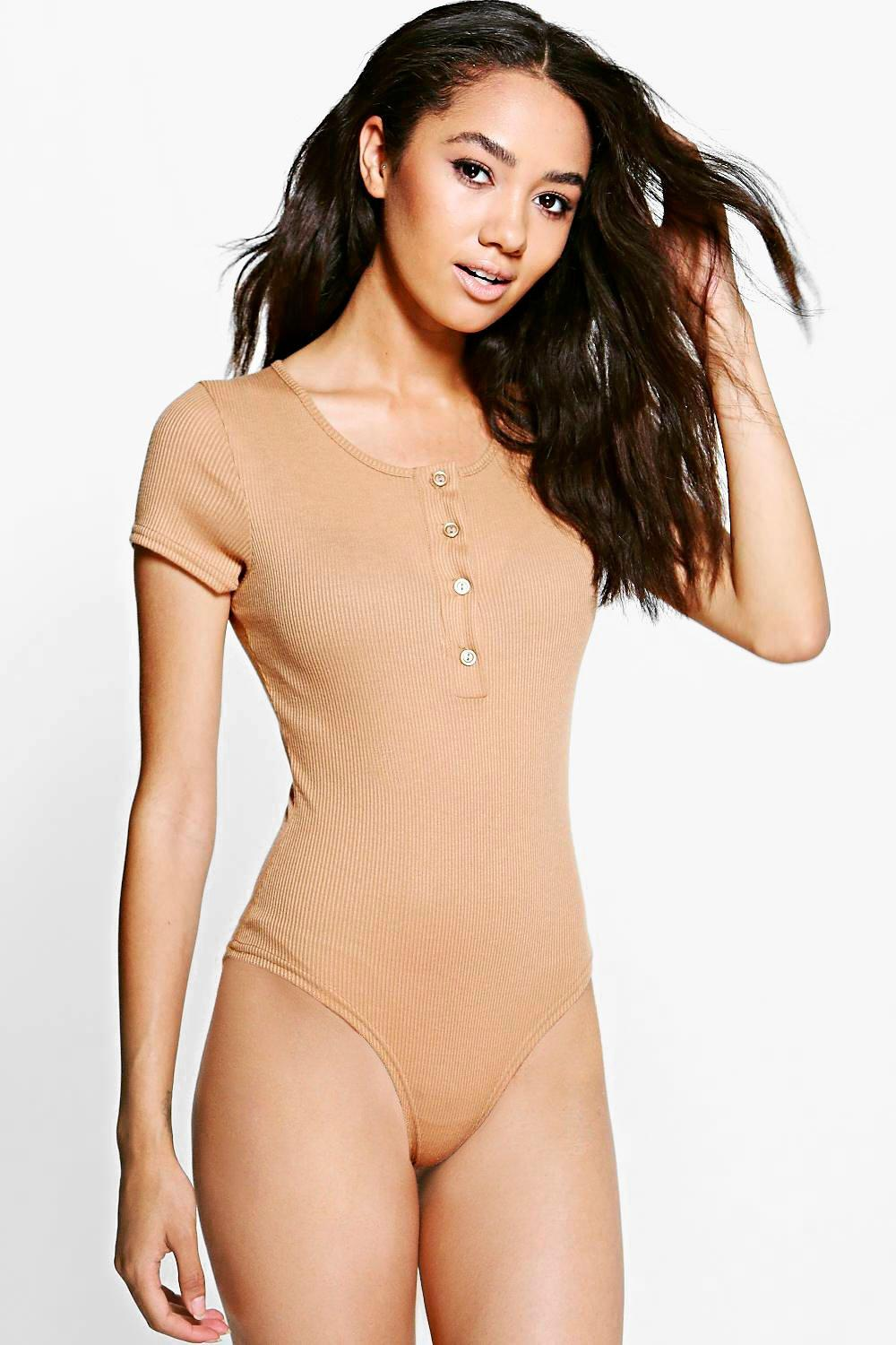 Petite Laurie Knitted Button Front Bodysuit