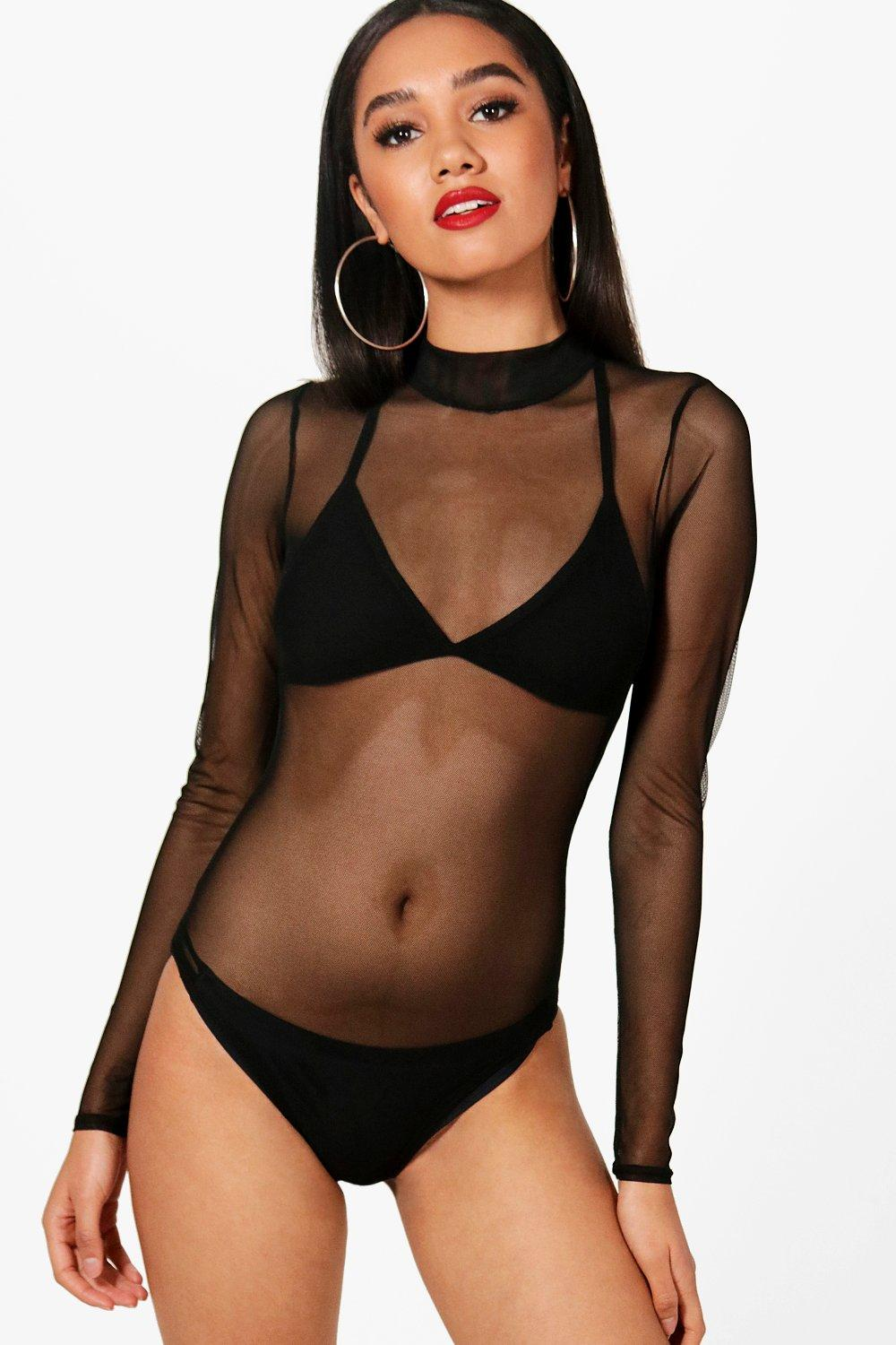 Petite Jasmine High Neck Mesh Bodysuit