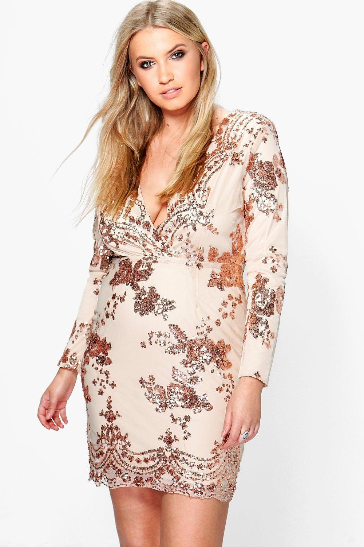 Plus Fiona Sequin Plunge Bodycon Dress | Boohoo
