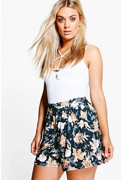 Plus Olivia Floral Flippy Shorts
