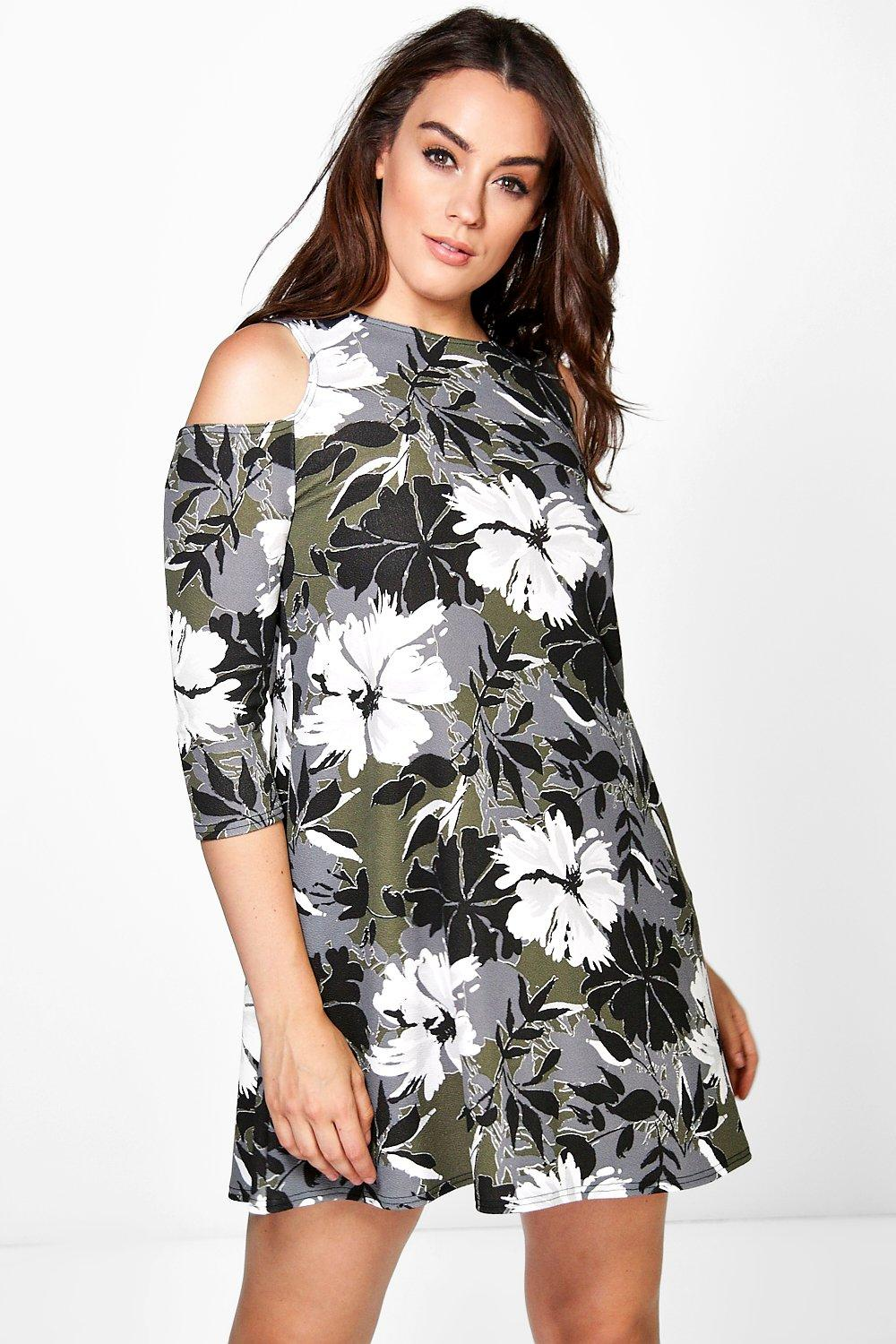 Plus Carla Printed Cold Shoulder Swing Dress