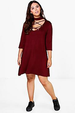 Plus Harriet Lace Up High Neck Swing Dress