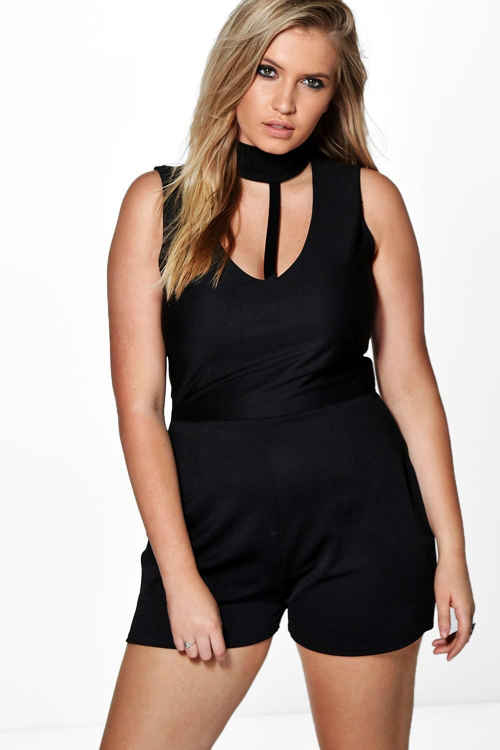 Plus Claire Choker Detail Playsuit