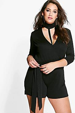 Plus Mollie Choker Detail Playsuit