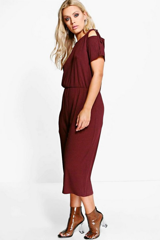 Plus Mia D Ring Shoulder Detail Rib Culotte Jumpsuit