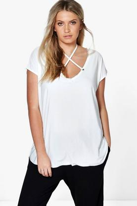 Plus Bianca Lace Up Slinky T-Shirt