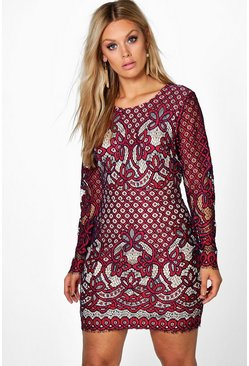 Plus Heather Crochet Bodycon Dress