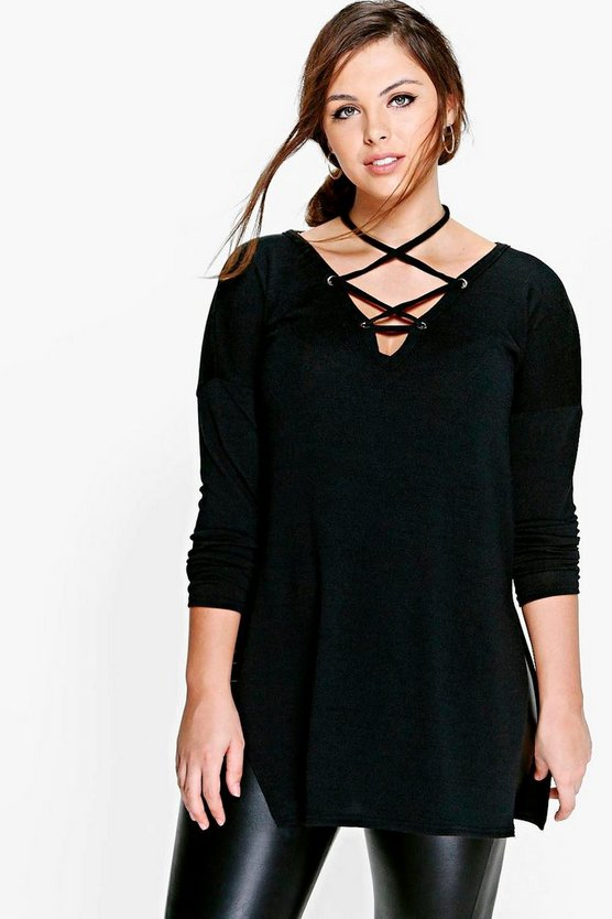 Plus Long Sleeve Knitted Lace Up Top