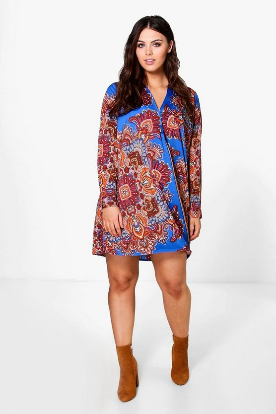 Plus Helena Printed Wrap Shift Dress
