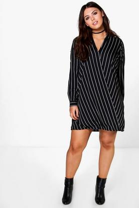 Plus Amelia Stripe Long Sleeve Wrap Dress