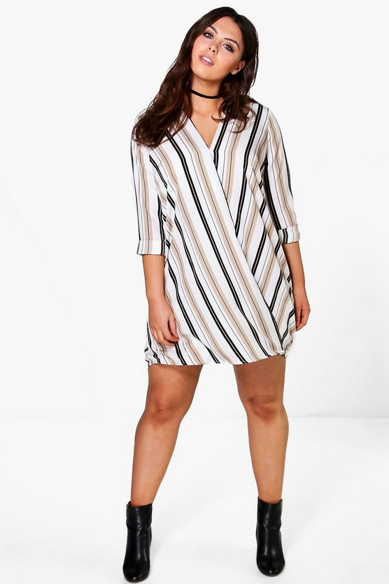 Plus Grace Stripe Wrap Dress