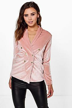 Petite Ruby Double Breasted Velvet Blazer