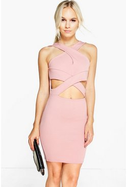 Petite Julia Cross Over Detail Bodycon Dress