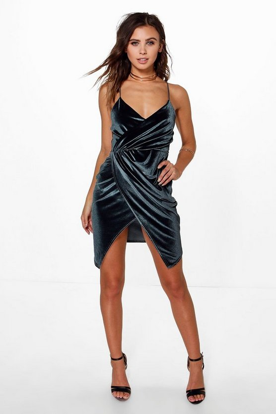 Petite Cara Wrap Asymmetric Velvet Dress