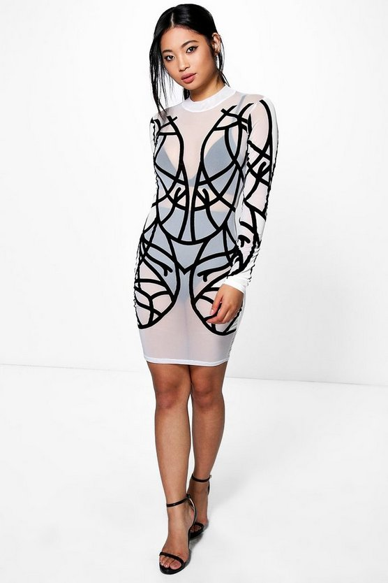 Petite Ciara Flock Mesh Bodycon Dress