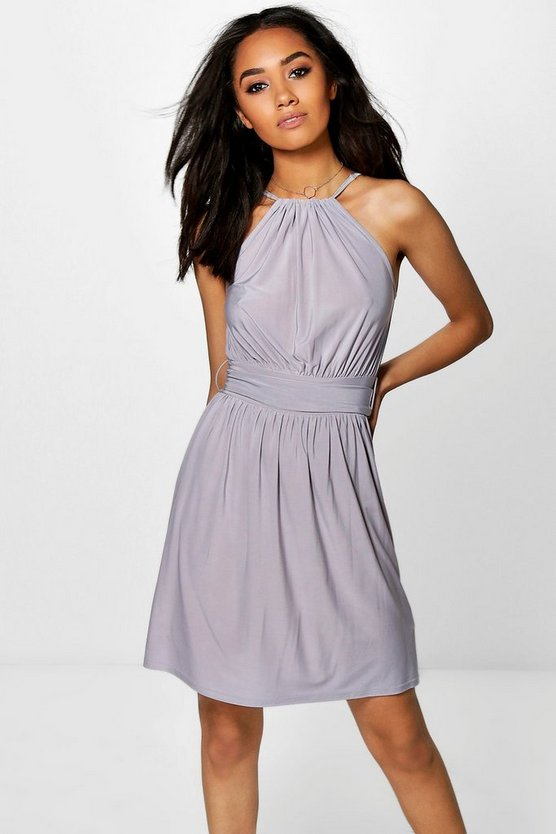 Petite Becky High Neck Tie Waist Skater Dress