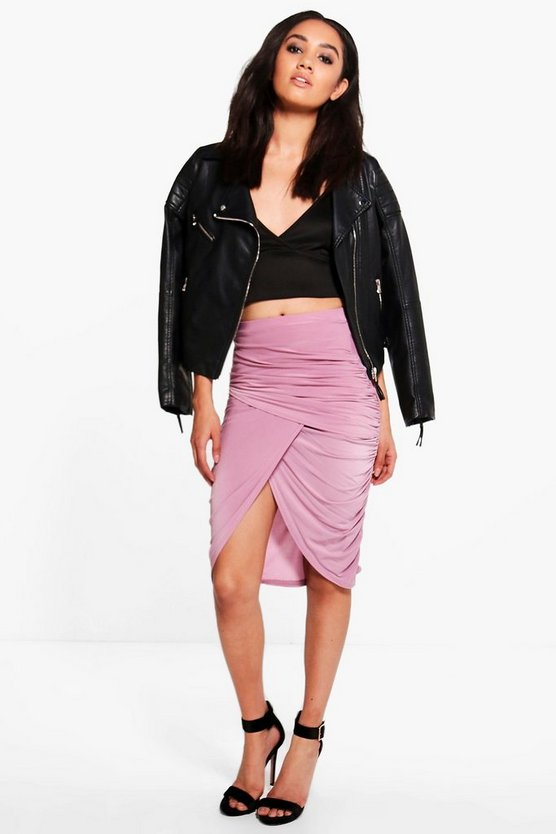 Petite Lucy Ruched Wrap Midi Skirt