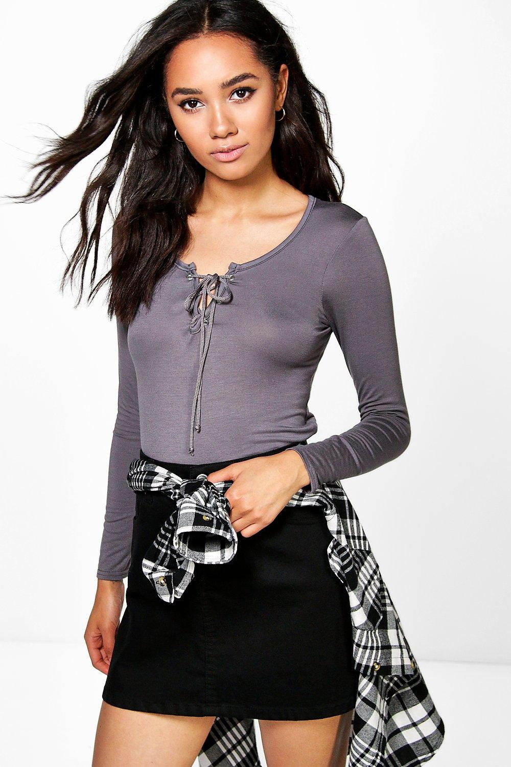 Petite Lola Long Sleeve Lace Up Top