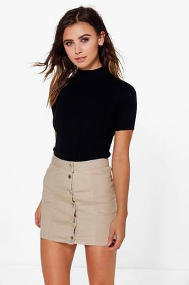 Petite Tilly Aline Button Through Skirt
