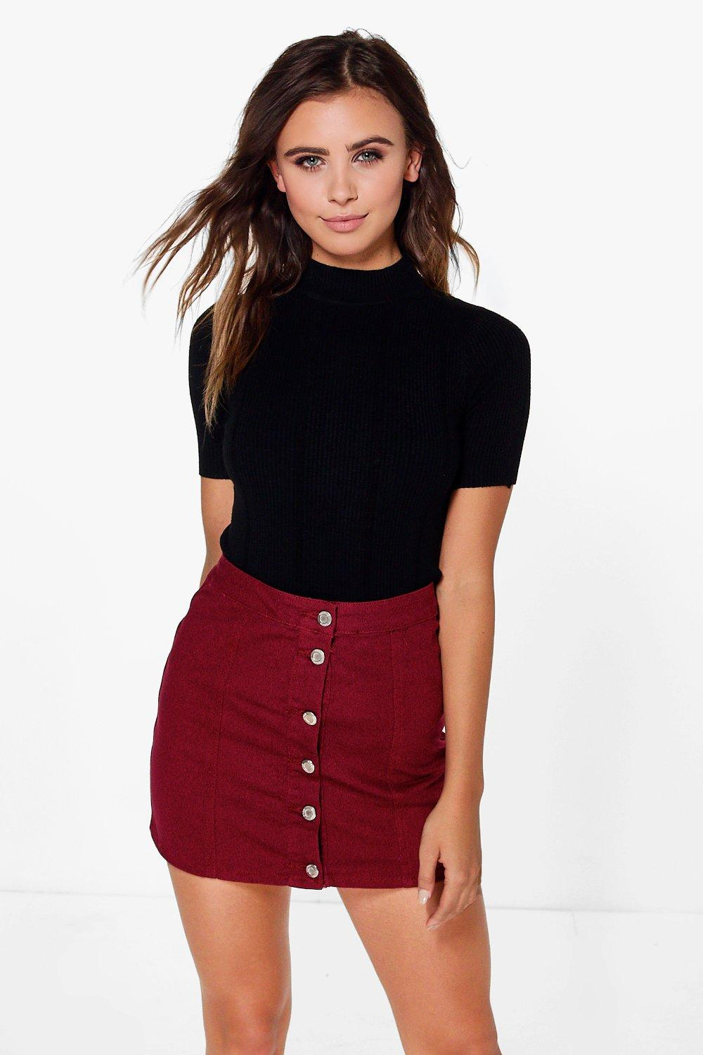 Petite Maria Button Through Aline Skirt