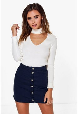 Petite Nina Button Through Aline Skirt