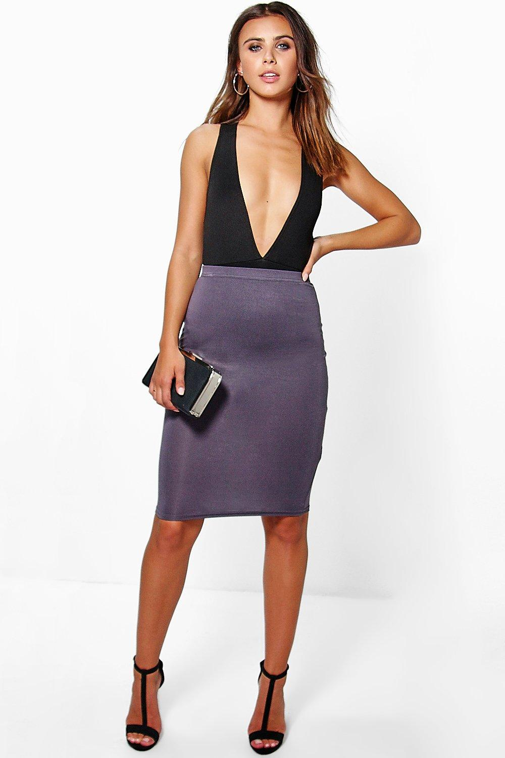 Petite Nadia Basic Midi Bodycon Skirt