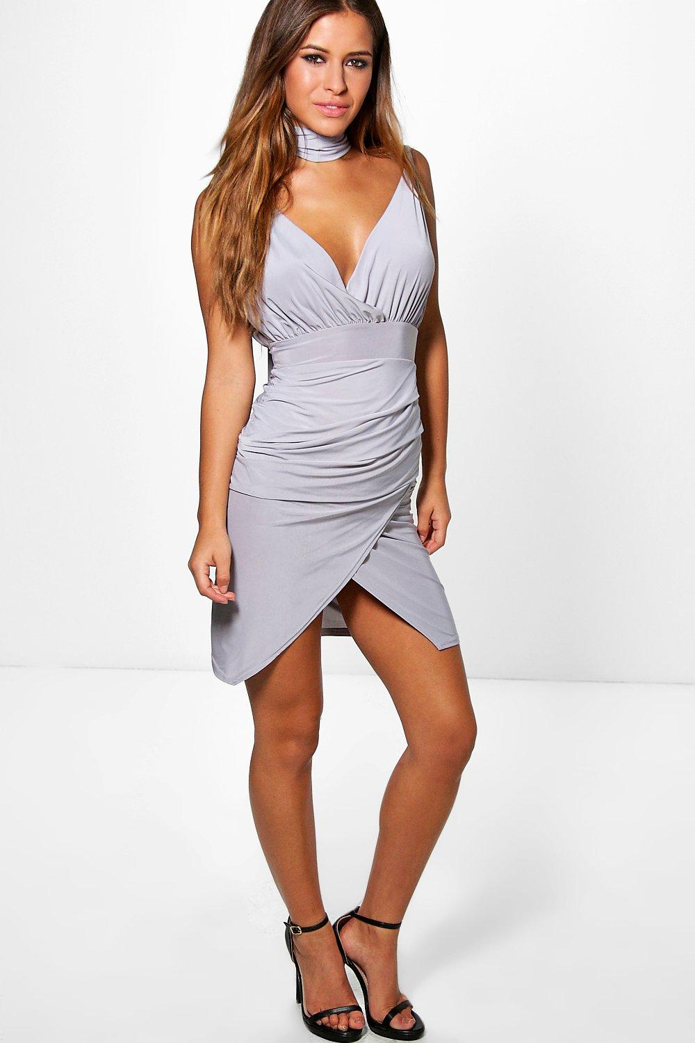 Petite Leanne Slinky Wrap Choker Dress