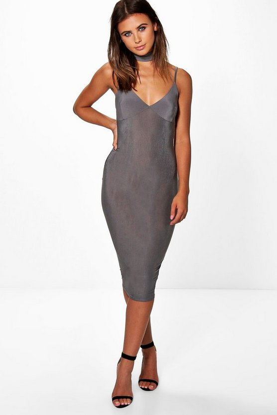 Petite Ana Strappy Choker Detail Midi Dress