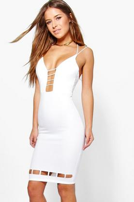 Petite Alex Strappy Cross Back Plunge Midi Dress