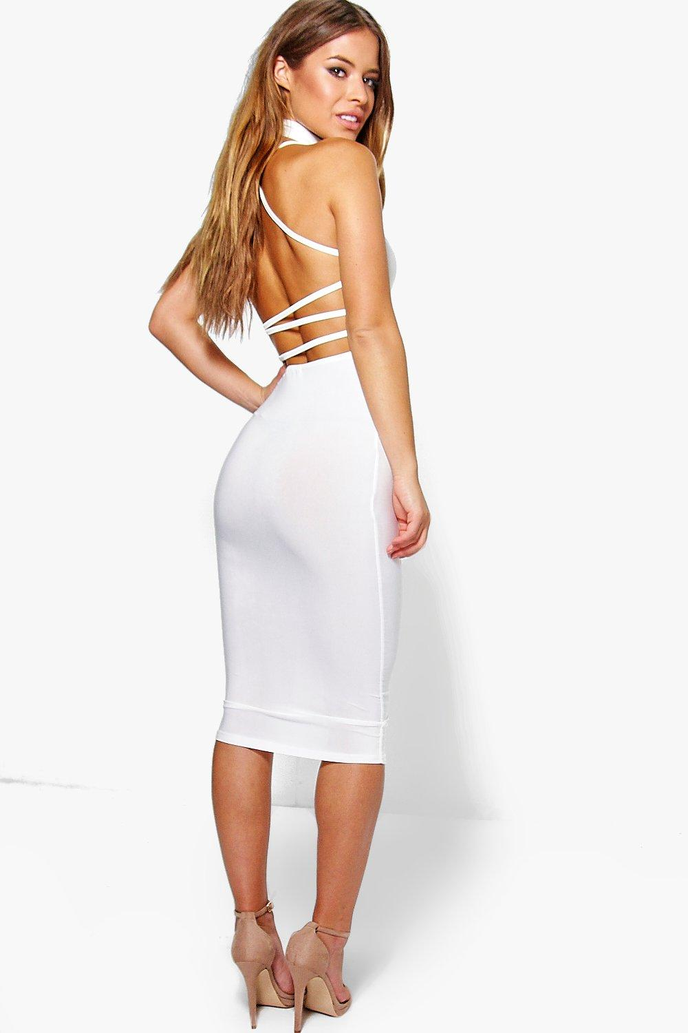 Product photo of Libby choker detail strappy back midi dress cream
